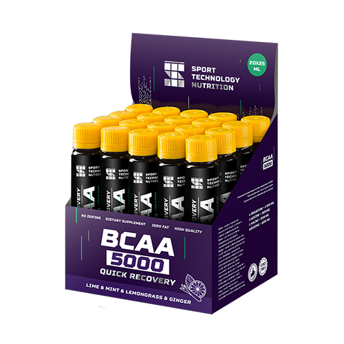 Аминокислоты в ампулах BCAA 5000 20х25мл Лайм-Мята-Лимонграсс-Имбирь